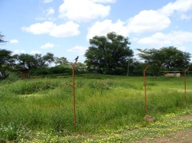 A fence separating the camp from the outside community.