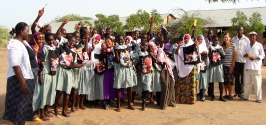 A group of students Maria worked with at the camp, after they received new supplies bought in the local Somali market with donations.